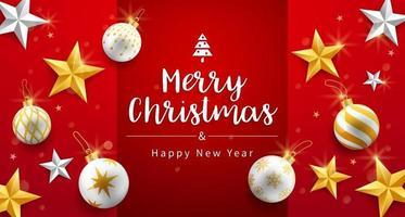prettige kerstdagen en gelukkig nieuwjaarskaart met gouden, zilveren ster en kerst ornamenten belletjes achtergrond. vector illustraties.