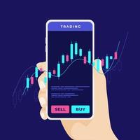 mobiel handelen op de aandelenmarkt. man's hand houdt een smartphone met handelsgrafieken. forex trading met een mobiele telefoon waar dan ook. vector
