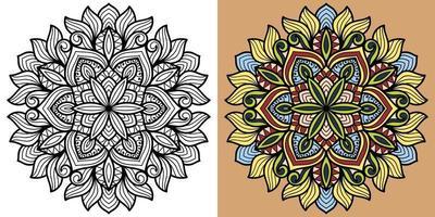doodle mandala kleurboek pagina voor volwassenen en kinderen. vector