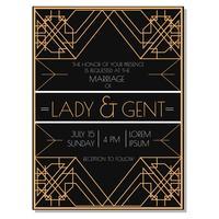 Art Deco huwelijksuitnodiging vector
