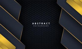 moderne gouden zwarte achtergrond met 3D-effect van overlappende lagen.