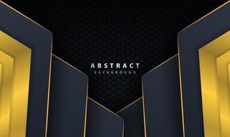 moderne gouden zwarte achtergrond met 3D-effect van overlappende lagen. vector