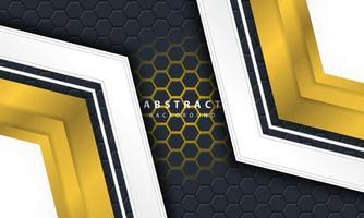 3d abstracte gouden lichte zeshoekige achtergrond met gouden en witte kadervormen. vector