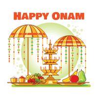 Bloemen Rangoli, banaan, fruit en parasol voor South Indian Festival Onam