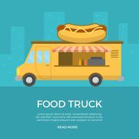 Platte voedsel vrachtwagen vectorillustratie vector