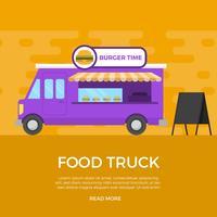 Platte voedsel vrachtwagen vectorillustratie