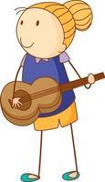 een doodle jongen spelen een akoestische gitaar stripfiguur geïsoleerd