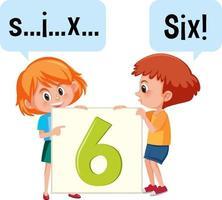stripfiguur van twee kinderen die het nummer zes spellen