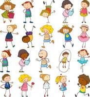 set van verschillende kinderen in doodle stijl