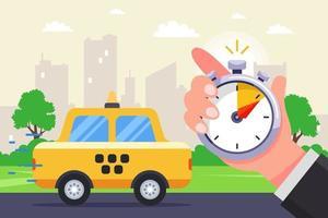 een snelle taxi gaat naar de oproep. de aankomst van een taxi getimed met een stopwatch. platte vectorillustratie.