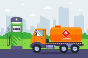 de tankwagen arriveerde bij het tankstation. vervoer van benzine per vrachtwagen. platte vectorillustratie.