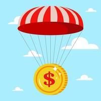parachute met een gouden munt in de lucht. veilige val. crisis in de financiële sector. platte vectorillustratie. vector