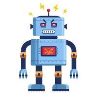 kwaadaardige robot in volle groei. humanoïde futuristisch. cyborg-moordenaar. platte vectorillustratie vector