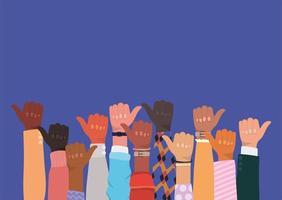 diversiteit concept met interraciale duimen omhoog vector