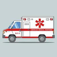 Amerikaanse ambulance op een grijze achtergrond. platte vectorillustratie. vector