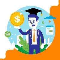 jonge man met een muntstuk in zijn handen. hoger onderwijs krijgen. succesvolle carriere. platte vectorillustratie.