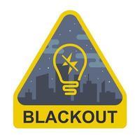 black-out teken. gele driehoek met een gloeilamp op de achtergrond van een stad. platte vectorillustratie. vector