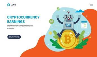 bestemmingspagina voor het werken met bitcoin. vrolijke robot zittend op een muntstuk. platte vectorillustratie. vector