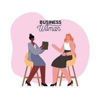 interraciale zakenvrouwen op stoelen met laptop en planten vector