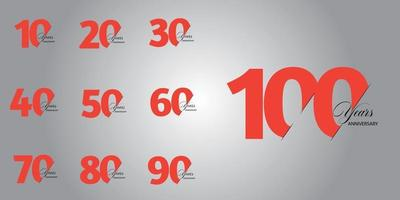 100-jarig jubileumset 10 20 30 40 50 60 70 80 90 vector