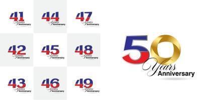 set van 41, 42, 43, 44, 45, 46, 47, 48, 49, 50 jaar jubileumnummers vector
