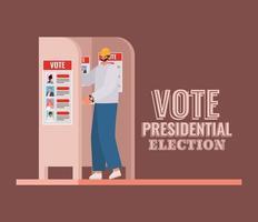 werknemer bij stemhokje met vector tekstontwerp stemmen presidentsverkiezingen