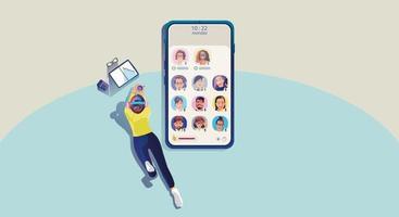 één vrouw gebruikt koptelefoon luistert naar een smartphone, scherm toont status van mensen die sociale netwerktoepassingen gebruiken, club, huis drop in audio, leren of online vergaderen, vectorillustratie, plat vector