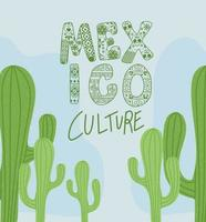 mexico cultuur belettering met cactus vector ontwerp