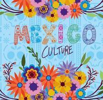 mexico cultuur belettering met bloemen en bladeren op een schedelachtergrond vector