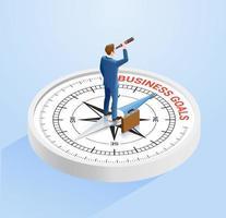 zakenman staat op het kompas en houdt een verrekijker vast. isometrische vector illustraties concept.