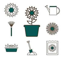 tuinieren pictogramserie vector