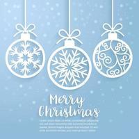 vrolijk kerstbal papier gesneden kunst. vector en illustratie.