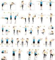 man en vrouw training fitness, aerobics en oefeningen. vector illustraties.