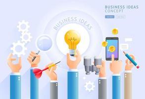 bedrijfsideeën concept. groep bedrijfshanden die gloeilamp, mobiele telefoon, meer magnifier, toestel, pijltjes en potloden houden. vector illustraties.