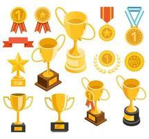 gouden trofee en medaille materiële pictogrammen. vector illustraties.