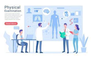 lichamelijk systeemonderzoek en behandeling vectorillustratie. vector