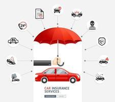 autoverzekeringen. hand van de bedrijfsmens die de rode paraplu houdt om rode auto te beschermen. vector illustratie.