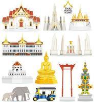 Thaise beroemde bezienswaardigheid pictogrammen. vector illustraties.
