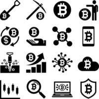 cryptocurrency mining pictogrammen. vector illustraties.