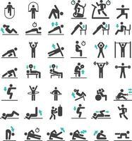 fitness oefening training pictogrammen instellen. vector illustraties.