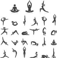 yoga vrouw vormt pictogrammen instellen. vector illustraties. gemakkelijk gebruikt voor logo yoga-branding.