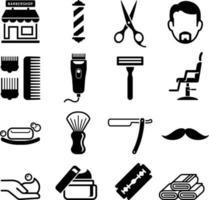 set van kapper winkel iconen. vector illustraties.