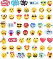 emoji emoticons symbolen pictogrammen instellen. vector illustraties