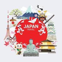 Japan beroemde bezienswaardigheden reizen achtergrond vector