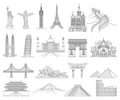 reizen doodle kunst tekening stijl vectorillustraties. beroemde bezienswaardigheden in de wereld. vector