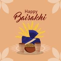 gelukkige vaisakhi platte ontwerp viering achtergrond