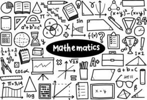 doodle cartoon set wiskunde pictogram vector