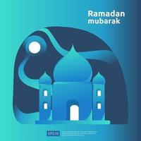 gelukkige ramadan mubarak en islamitische eid fitr of adha platte ontwerp groet concept met mensen karakter voor web bestemmingspagina sjabloon, banner, presentatie, sociale en gedrukte media vector