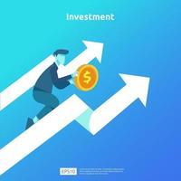 financieringsprestaties van return on investment roi. inkomen salarisverhoging concept illustratie met mensen karakter en pijl. bedrijfswinstgroei, verkoopgroei margeopbrengst met dollarteken