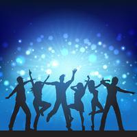 Mensen van de partij op disco lichten achtergrond vector